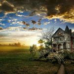 Fantastic Old House Under Gorgeous Sky HD Desktop Background
