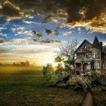 Fantastic Old House Under Gorgeous Sky HD Desktop Background