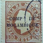 compa de mocambique black 100 reis 1892 braun brown brun mozambique stamp provincia de mocambique