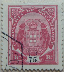 companhia de mocambique 75 rs reis 1894 rosa rose mozambique stamp
