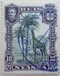 nyassa 10 reis correios portugal 1901 dunkelgrun green vert giraffe stamp