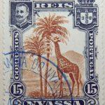 nyassa 15 reis correios portugal 1901 braun brown brun giraffe stamp