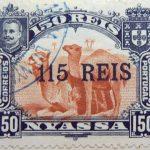 nyassa 150 reis correios portugal 1903 rotlichbraun red brown brun jaune camel stamp 115 overprint