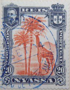 nyassa 20 reis correios portugal 1901 orangerot orange red rouge giraffe stamp