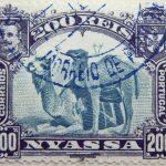 nyassa 200 reis correios portugal 1901 blaugrun blue green vert blue camel stamp