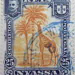 nyassa 25 reis correios portugal 1901 braunorange orange giraffe stamp