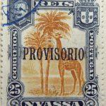 nyassa 25 reis correios portugal 1903 braunorange orange giraffe stamp provisorio overprint