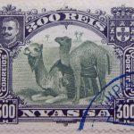 nyassa 300 reis correios portugal 1901 gelbgrun yellow green vert jaune camel stamp
