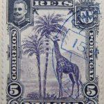 nyassa 5 reis correios portugal 1901 dunkelviolett mauve lilas giraffe stamp