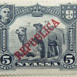 nyassa 5 reis correios portugal red republica overprinted camel stamp