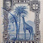 nyassa 50 reis correios portugal 1901 blau blue bleu giraffe stamp