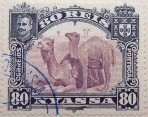 nyassa 80 reis correios portugal 1901 lila lilac lilas camel stamp