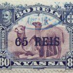 nyassa 80 reis correios portugal 1903 lila lilac lilas camel stamp black overprinted 65