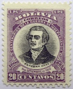 09 the 100th anniversary of the beginning of war of independence, 1809 1825 u. p. u bolivia correos centenarios de la guerra de independencia. 14 de setiembre de 1810 20 centavos violet black stamp est
