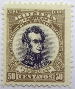 09 the 100th anniversary of the beginning of war of independence 1809 1825 u. p. u bolivia correos centenarios de la guerra de independencia. antonio jose de sucre 9 diciembre 1824 50 centavos stamp