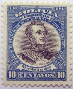 09 the 100th anniversary of the beginning of war of independence, 1809 1825 u. p. u bolivia correos centenarios de la guerra de independencia. bernardo monteagudo 25 de mayo de 1809 10 centavos stamp