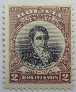 09 the 100th anniversary of the beginning of war of independence 1809 1825 u. p. u bolivia correos centenarios de la guerra de independencia. manuel belgrano 1813 1815 2 bolivianos stamp