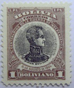09 the 100th anniversary of the beginning of war of independence 1809 1825 u. p. u bolivia correos centenarios de la guerra de independencia. simon bolivar 6 de agosto de 1824 1 boliviano stamp