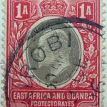 1 annas british east africa and uganda protectorates 1903 1905 king eduard vii red black stamp