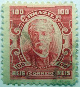 100 correio reis brazil eduardo wandenkolk carmin stamp 1906