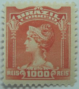 1000 correio reis brazil liberty head stamp 1906
