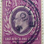12 cents british east africa and uganda protectorates 1907 king eduard vii rotviolett lila magenta stamp