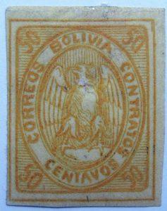 1867 1868 condor correos bolivia contratos imperforated 50 centavos yellow stamp