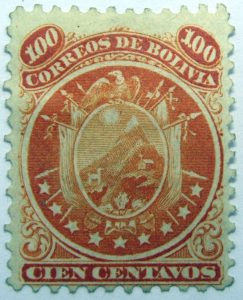 1868 coat of arms nine stars below arms 100 correos de bolivia cien centavos orange stamp