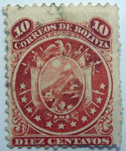 1871 coat of arms eleven stars below arms 10 correos de bolivia diez centavos red stamp