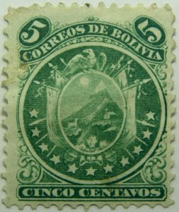 1871 coat of arms eleven stars below arms 5 correos de bolivia cinco centavos green stamp