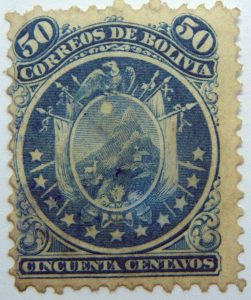 1871 coat of arms eleven stars below arms 50 correos de bolivia cincuenta centavos blue stamp