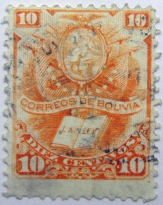 1878 crest and book correos de bolivia la ley 10 diez centavos orange stamp