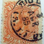1884 1885 emperor dom pedro ii reddish orange brazil dez reis old stamp