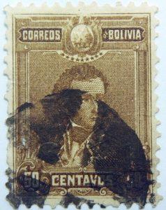 1899 1901 general sucre 1795 1830 correos de bolivia 50 centavos brown
