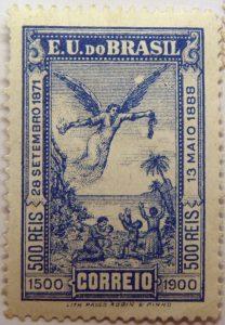 1900 the 400th anniversary of the discovery of brasil e.u. do brasil correio 500 reis blue 28 setembro 1871 13 maio 1888 1500 1900 lith paulo robin pinhostamp