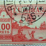 1900 the 400th anniversary of the discovery of brazil e.u. do brazil correio 100 reis 1500 red stamp