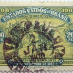 1900 the 400th anniversary of the discovery of brazil estados unidos do brazil correio 200 reis 1500 green yellow stamp 7 de setembro de 1822 paulo robin pinho