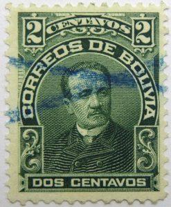 1901 correos de bolivia 2 dos centavos camacho green stamp