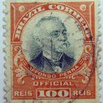 1906 president afonso pena, 1847 1909 brazil correio official 100 reis stamp