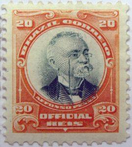 1906 president afonso pena, 1847 1909 brazil correio official 20 reis stamp