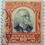1906 president afonso pena, 1847 1909 brazil correio official 50 reis stamp