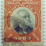 1906 president afonso pena, 1847 1909 brazil correio official 5000 reis stamp orange