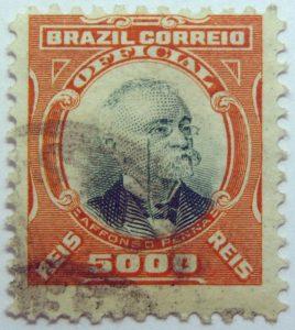 1906 president afonso pena, 1847 1909 brazil correio official 5000 reis stamp orange