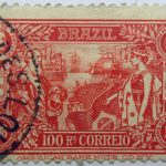1908 the 100th anniversary of the opening of brazilian port brazil 100 rs. correio american banknote co n.y.1808 1908 centenario da abertura dos portos