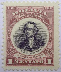 1909 the 100th anniversary of the beginning of war of independence, 1809 1825 u. p. u bolivia correos centenarios de la guerra de independencia. miguel betanzos 10 de noviembre de 1810 1 centavo stamp