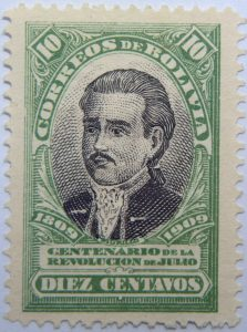 1909 the 100th anniversary of the revolution of july 1809 correos de bolivia centenario de la revolucion de julio 10 diez centavos green black murillo stamp