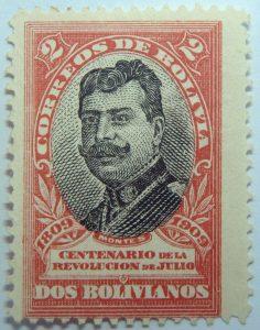 1909 the 100th anniversary of the revolution of july 1809 correos de bolivia centenario de la revolucion de julio 2 bolivianos scarlet black stamp montes