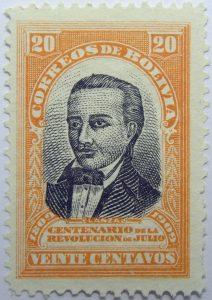 1909 the 100th anniversary of the revolution of july 1809 correos de bolivia centenario de la revolucion de julio 20 centavos orange black stamp lanza