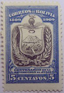 1909 the 100th anniversary of the revolution of july 1809 correos de bolivia centenario de la revolucion de julio 5 centavos blue black stamp