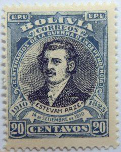 1910 the 100th anniversary of the liberation of santa cruz, potosi and cochabamba bolivia correos centenarios de la guerra de independencia. 14 de setiembre de 1810 20 centavos blue black stamp